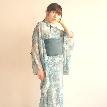 透け感とペイズリーのコントラスト〜10秒で着られる着物& リバーシブル帯 2点セット/ヨーロピアンペイズリーシースルー/ブルー〜