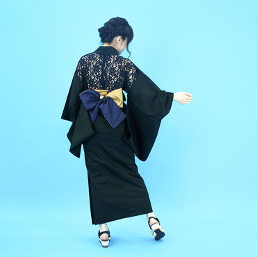 【COME BACK】10秒で着られる浴衣 & 簡単帯2点セット / バックレース ブラック