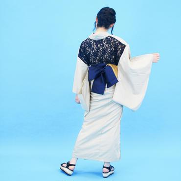 【COME BACK】10秒で着られる浴衣 & 簡単帯2点セット / バックレース 淡ベージュ