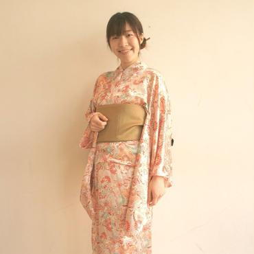 和の可愛らしさで女度を格上げ〜10秒で着られる着物& リバーシブル帯 2点セット/リキッドモダンマム/レッド〜