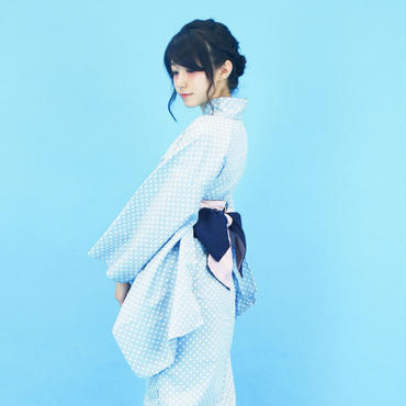 【COME BACK】10秒で着られる浴衣 & 簡単帯2点セット / ミニマムドット 水色