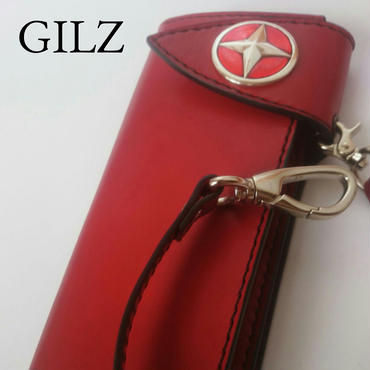 GILZバイカーウォレット(赤×赤)コンチョ(赤)