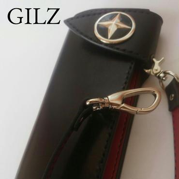 GILZバイカーウォレット(黒×赤)コンチョ(黒)