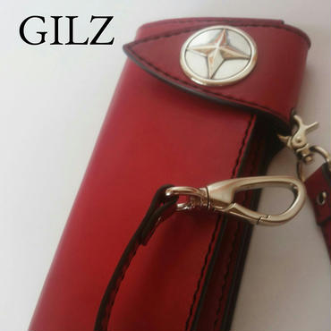 GILZバイカーウォレット(赤×赤)コンチョ(素地)