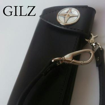 GILZバイカーウォレット(黒×黒)コンチョ(素地)