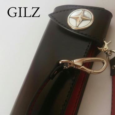 GILZバイカーウォレット(黒×赤)コンチョ(素地)