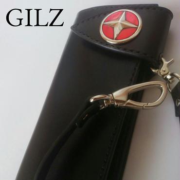 GILZバイカーウォレット(黒×黒)コンチョ(赤)