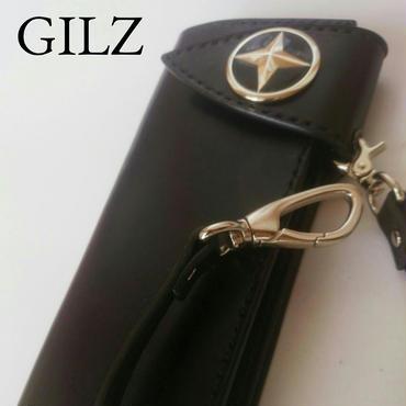 GILZバイカーウォレット(黒×黒)コンチョ(黒)