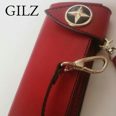 GILZバイカーウォレット(赤×赤)コンチョ(黒)
