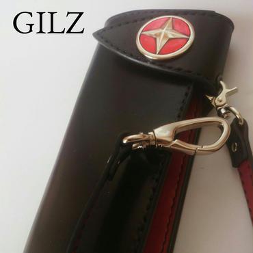 GILZバイカーウォレット(黒×赤)コンチョ(赤)