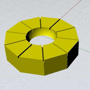 3Dデータ ミニてまり地割りツール 十角じわり君