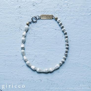 フランス製の珍しい形のラインの入った立体感のあるシルバースフレガラスのブレスレット(TJ10946)