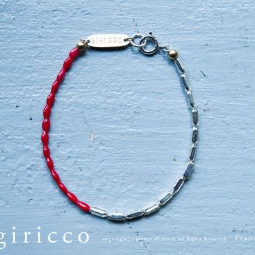 フランスの珍しいシルバーと艶のある赤のスフレガラスのコンビブレス(TJ10910)