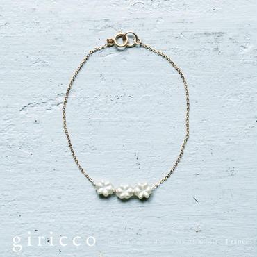 フランス製の珍しいお花のスフレガラスとK14GFゴールドフィルドのブレスレット!(TJ10917)
