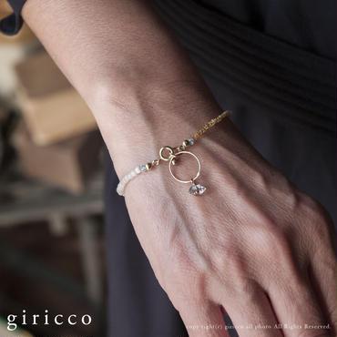 フランスヴィンテージビーズとアパタイト&水晶×リングのシンプルで上品なブレスレット(TJ10935)