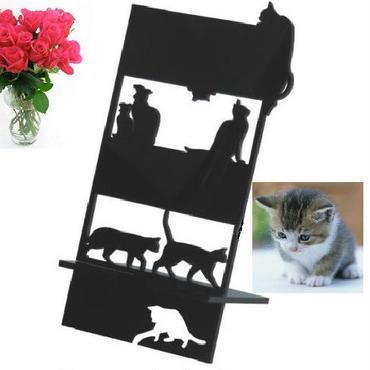 猫いっぱいの四角い♪クロネコ携帯スタンド☆アクリル製☆(スクエアー)☆問屋直送品です。