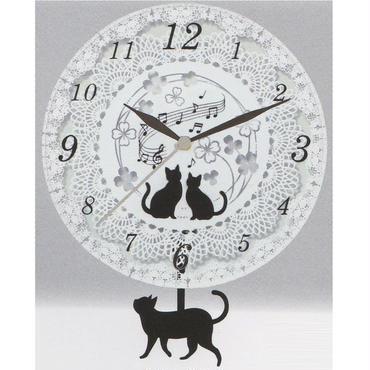 ★猫ガラス(=^▽^=)振り子時計★☆問屋直送品です。