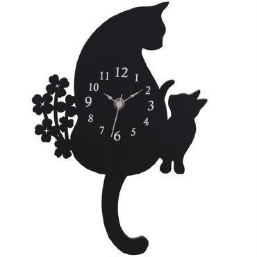 猫親子が見詰め合う(=^▽^=)クロネコ振り子時計(木製)☆問屋直送品です。