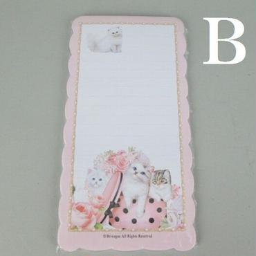 ピンクの薔薇と可愛い白猫のイラスト☆キャットメモ帳☆Bタイプ