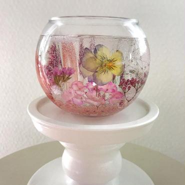 Handmade【精油が選べる】ピンクのフラワーボタニカルジェルキャンドル