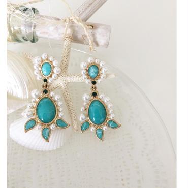 【Pearl & Turquoise】ピアス