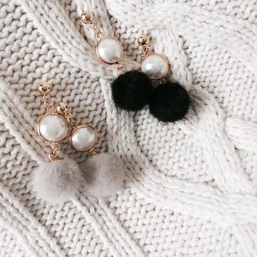 【Pearl & Fur Ball】ピアス&イヤリング