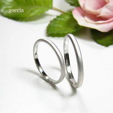 シンプルな結婚指輪。ハードプラチナ900の自然な艶消し仕上げ(5-2)