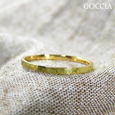 華奢なリング、K18ゴールド、ハンマー仕上げ (Adrable)