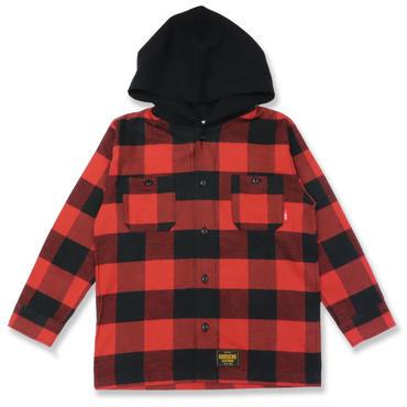 BUFFALO  CHECK  HOOD  SHIRT  バッファローチェック  フード  シャツ  RED