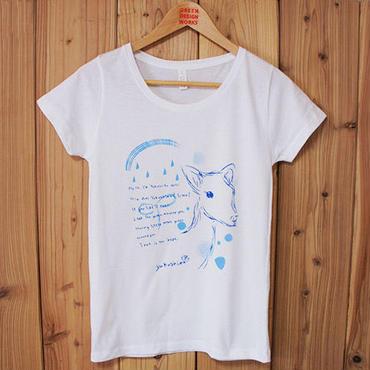 ヤクシカTシャツ ガールズ(白地ブルー)