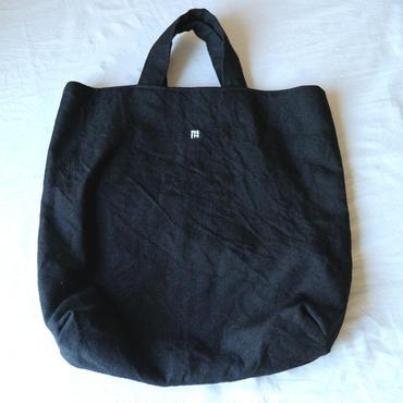麻の手織りバッグ黒てんてん四角 / クウプノオト