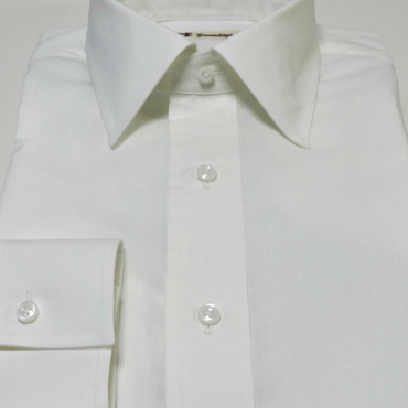 【受注生産】〔JAPAN縫製〕セミショートレギュラーカラー・シンプルメンズシャツ(上質コットン100%)