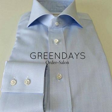 【オーダーシャツ】〔JAPAN縫製〕ウインザーワイドカラー・ヘリンボーン柄サックスメンズシャツ(上質綿100%)