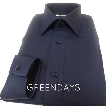 【受注生産】〔JAPAN縫製〕セミショートレギュラーカラー・シンプル黒シャツ(上質コットン100%)※メンズです