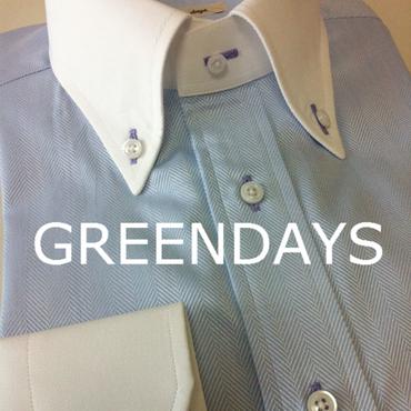 【受注生産】JAPAN縫製]サックス色ヘリンボーン・クレリックカラーボタンダウンシャツ(上質綿100%)
