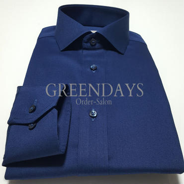 【受注生産】〔JAPAN縫製〕ショートワイドカラー・ネイビーシャツ(上質コットン100%)※メンズです