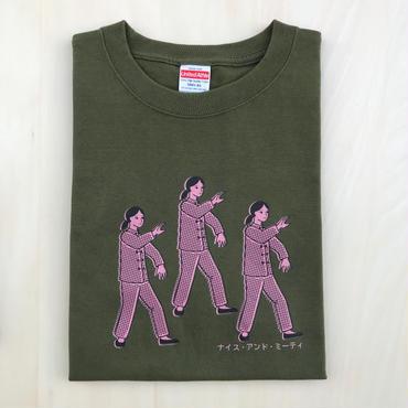 太極拳ガールTシャツ_Olive / Pink