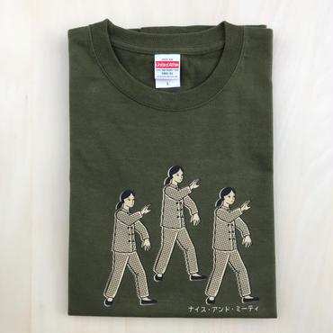 太極拳ガールTシャツ_Olive / Beige