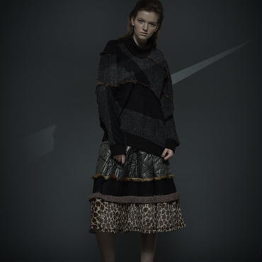 50%OFF!!! SHIROMA 16-17A/W DARK AGES fur fringe sweater-black-