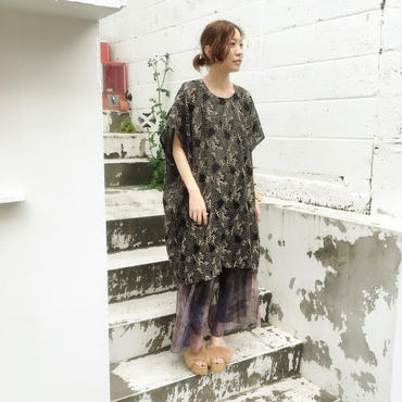 40%OFF!!!! 【GUSUCUMA limited】 SHIROMA 16S/S chase the unknown embroidery square dress -gold×black-