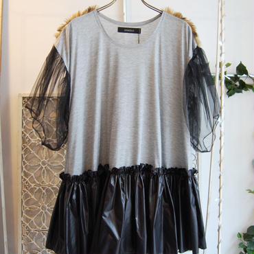 50%OFF!!! SHIROMA 16-17A/W DARK AGES tulle nylon tunic -light gray-
