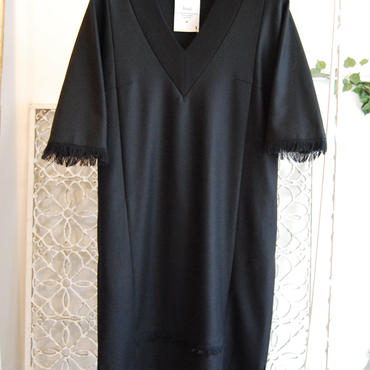 KAAI flannel fringe dress -black-