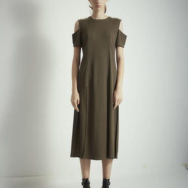 SHIROMA 18S/S ANARCHY thermal slit dress -khaki-