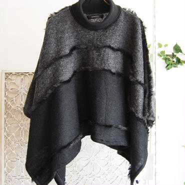 SHIROMA 16-17A/W DARK AGES fur fringe knit poncho -black-