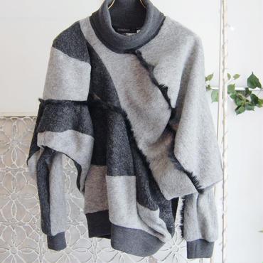 SHIROMA 16-17A/W DARK AGES fur fringe sweater-light gray-