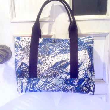 50%OFF!!! SHIROMA 15S/S PRIMITIVE ACTION paint tote bag -blue×white-