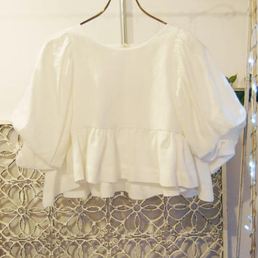 BANSAN big puffsleeve tops -white-