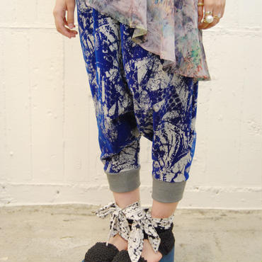 SHIROMA 14-15A/W SACRED LIZARD sweat pants -lightgray×blue-