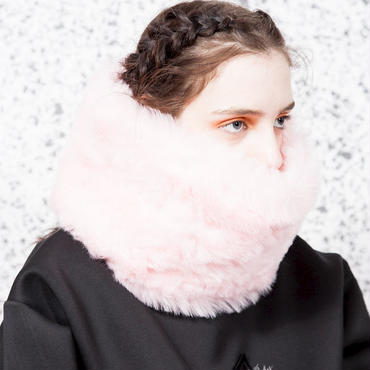SOMEWHERE NOWHERE pink fur snood