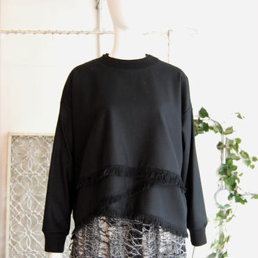 KAAI flannel fringe pullover -black-